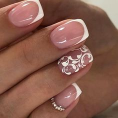 55 Wedding Nail Designs for Your These trendy Nails ideas would gain you amazing compliments. Simple Nail Art Designs, Beautiful Nail Designs, Easy Nail Art, Cool Nail Art, French Nails, French Acrylic Nails, Nagel Hacks, Wedding Nails Design, Girls Nails
