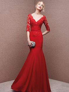 Lace 1/2 Sleeve Prom Dress, Lace dress, Red Party Gowns
