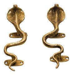 Brass Cobra Door Handles - A Pair on Chairish.com