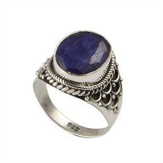 EXCLUSIVE 925 STERLING SILVER 5.89g SAPPHIRE GEMSTONE  RING JEWELLERY SIZE-8.5 #DSJ #Ring
