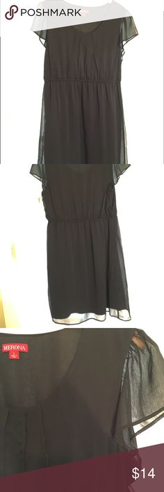 Merona Black Flutter Sleeve Dress This is a tasteful LBD that has an elegant twist with sheer flutter sleeves and pleated front. Looks FANTASTIC on, really curve flattering! Machine washable for easy care. Merona Dresses Midi