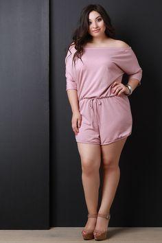 Off The Shoulder Three Quarter Sleeve Soft Knit Romper Plus Size Mini Dresses, Plus Size Romper, Curvy Women Fashion, Plus Size Fashion, Girl Fashion, Beautiful Girl Indian, Most Beautiful Indian Actress, Sexy Dresses, Short Dresses