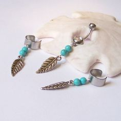Ear Cuffs - Helix Cuffs - SET Of 3 - TWO Ear Cuffs and ONE Belly Button Ring - Leaf with Turquoise Magnesite - Made to Order on Etsy, $27.00