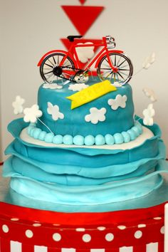 Amazing cake at a Bike Baby Shower!  See more party ideas at CatchMyParty.com!  #partyideas #babyshower