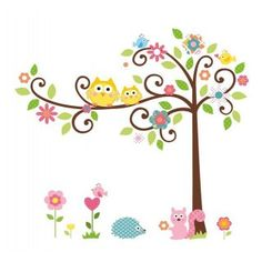 Cute Owls on the Tree with Friends