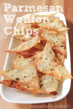 Parmesan Wonton Chips Recipe – Mom Makes Joy Parmesan Wonton Chips by Essentially Eclectic Wonton Recipes, Appetizer Recipes, Snack Recipes, Cooking Recipes, Dinner Recipes, Italian Appetizers, Skillet Recipes, Cooking Gadgets, Cooking Tools