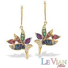 Yellow Gold Le Vian Aloha Collection Bird of Paradise Earrings with Multi-Color Gems and Diamonds - Earrings - Jewelry Type