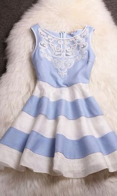 Embroidered Organza Striped Skirt Mini Dress