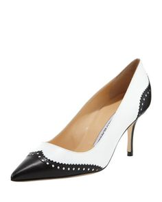 Ancor Two-Tone Spectator Pump, Black/White by Manolo Blahnik at Bergdorf Goodman.So classic