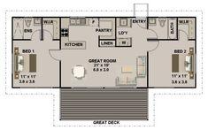 2 Bedroom + 2 Bath House Plan:93.6
