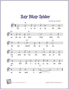 Itsy Bitsy Spider | Free Sheet Music for Guitar - http://www.makingmusicfun.net/htm/f_printit_free_printable_sheet_music/itsy_bitsy_spider_leadsheet.htm