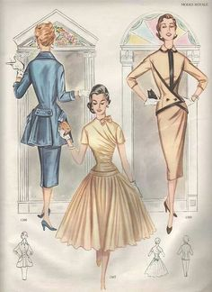 Fall Winter Mode Royale 1955-1956 gathered wrapped top full skirt modern jacket peplum jacket buttons vertical line straight skirt