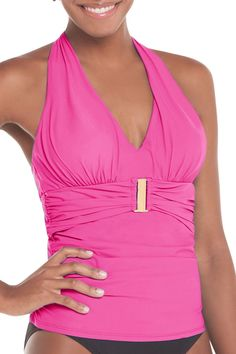 Belted Beauty Halter Tankini Top
