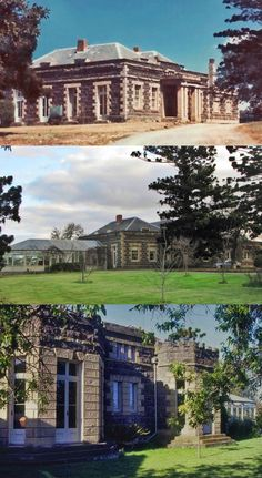 Barwon Bank, Marnockvale, was built in 1853-56 by noted Geelong solicitor John Alexander Gregory. The 18 room bluestone mansion sits amidst extensive gardens on the high northern bank overlooking the Barwon River. Architect Thomas R. Yabsley designed the single-storey attic house, constructed of basalt with contrasting Barrabool freestone dressings and dominated by a Doric portico and battlemented bay windows. It is in Colonial Regency style (comparatively rare in Victoria), and is one of… Australian Houses, Australian Architecture, Country Estate, Country Farm, Attic House, Bay Windows, Historic Houses, Victoria Australia, Faith