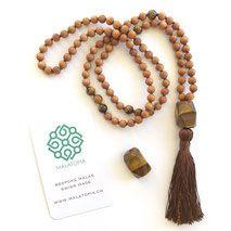 Courage Protection Mala www. Tassel Necklace, Beaded Bracelets, Yoga Mala, Tiger Eye Beads, Crystal Meanings, Yoga Jewelry, Beautiful Gift Boxes, Bracelet Sizes, Necklaces