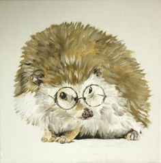 Scholarly Hedgehog  original painting SALE by blairblambert, $25.00