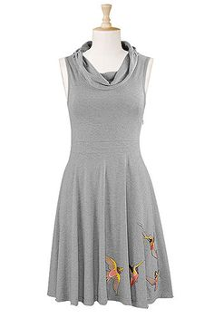 Cowl neck melange knit dress