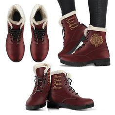 Harry Potter Style Boots - Gryffindor Faux Fur Leather Boots