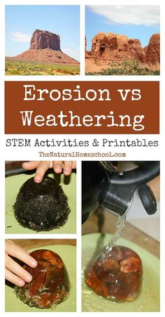 "Be sure and visit our ""What is the Difference between Weathering and Erosion?"" post after you read this ""Erosion vs Weathering ~ Awesome Science STEM Activities"" post because they go hand-in-hand."