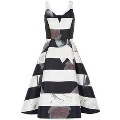 alpina floral stripe dress (9.845 RUB) ❤ liked on Polyvore featuring dresses, white dress, sweetheart dresses, stripe dresses, white day dress and floral print dress