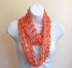 Magnificent Melon Infinity Scarf Crochet Accessories Women