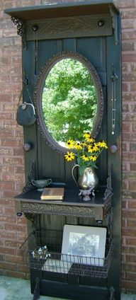 Image detail for -Upcycled door DIY Repurposed hall catchall with mirror