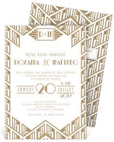 Faire part mariage style art-déco sur le thème des années folles qui inviteront les proches à la fête, ref N241112