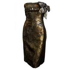 LANVIN metallic bronze floral dress | From a collection of rare vintage evening dresses at https://www.1stdibs.com/fashion/clothing/evening-dresses/