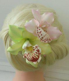 "Купить Заколки ""Орхидеи"" из фоамирана - заколка для волос, заколка с цветами, заколка-цветок, заколка-автомат"