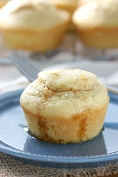 Easy Pumpkin Cream Swirled Pancake Muffins Recipe from A Kitchen Addiction @akitchenaddict