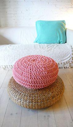 Floor Cushion Crochet Thick Cotton Pink por lacasadecoto en Etsy, €59.00