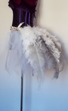 White Silver Grey Ostrich Feather Burlesque Bustle