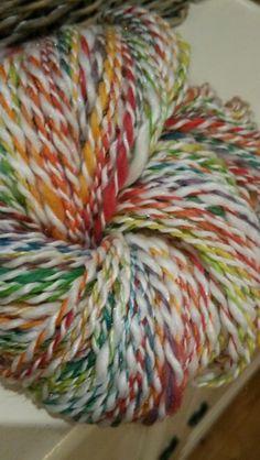 Rainbow with White 2ply handspun yarn by monique van Groningen