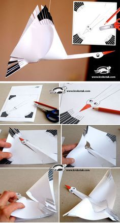 PAPER STORK + Template _use this as an example - kids draw their own birds cut and assemble as shown Origami Paper, Diy Paper, Paper Art, Paper Crafts, Craft Projects, Crafts For Kids, Projects For Kids, Arts And Crafts, Papier Kind