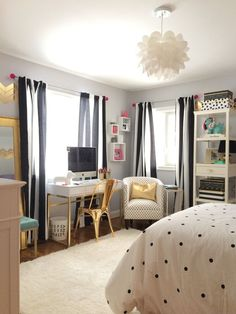 A teen bedroom makeover in black and white stripes polka dots and accents of gold. Create this sophisticated look with bedding accessories and furniture ... & 20 Of The Most Trendy Teen Bedroom Ideas | Pinterest | Bedrooms ...