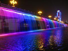 Moonlight Rainbow Fountain on Banpo Bridge in Seoul, South Korea. This is the world's longest bridge fountain.