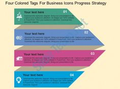 fa four colored tags for business icons progress strategy flat powerpoint design Slide01