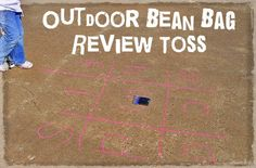 outdoor bean bag review toss for spelling or math #homeschool #hands-on