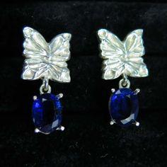 Natural Blue Kyanite butterfly stud drop earrings 925 by EVGAD