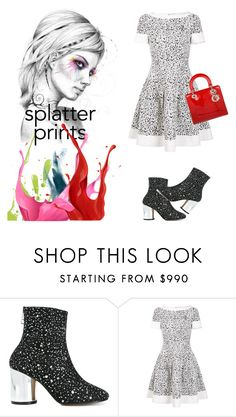 """""""splatter prints"""" by art-gives-me-life ❤ liked on Polyvore featuring Maison Margiela, Carolina Herrera, Christian Dior and contestentry"""