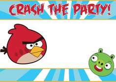 angry birds invitation that you can write on   if you want to write on your invitations with pen or marker, all you ...
