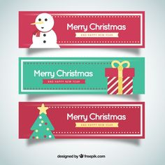 Pack of christmas and new year banners Free Vector