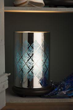 Love diamonds?? You'll LOVE this gorgeous diamond filigree simmering light! Don't wait! Bring it home today and put it in that perfect spot!  #diamond #filigree #blue www.pinkzebrahome.com/denaclark