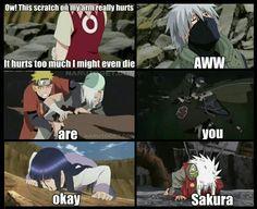 """""""Ow! Este arranhão no meu braço dói Dói demais eu poderia até morrer.   Aww Você está bem Sakura!"""""""
