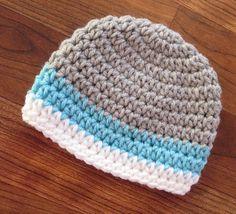Crocheted Silver Gray, Light Aqua & White Baby Boy Hat ~ Baby Shower Gift ~ Newborn Photo Prop ~ Newborn to 5T ~ MADE TO ORDER by KaraAndMollysKids on Etsy