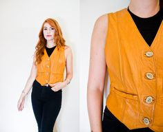 Vintage 1970s Vest  Leather Light Brown by dejavintageboutique