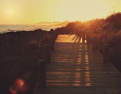 Shadows dance on the boardwalk of Punta del Este, Uruguay.
