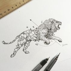 Geometric Beasts - Ilustrações de animais e figuras geométricas