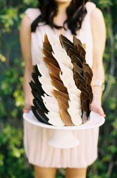 Wedding Cakes: Feather Inspired chocolate Cake