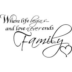 Ends, Family Wall Quotes, Family Quotes, Wall Words Home
